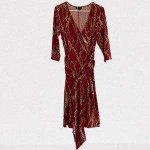 Red and Gold Belted V-Neck Dress XL | AB Studio